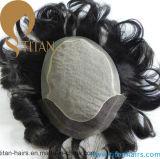 漂白された結び目および性質のヘアラインが付いているインドの人間の毛髪のToupee