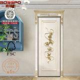Peinture blanche avec la porte principale classique de bois de construction de Chambre d'or (GSP2-079)