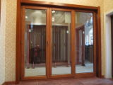 Natural Larch Wood Doubles Tempered Glass Solid Wood Door