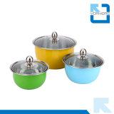 3PCS het kleurrijke Mengen zich van het Roestvrij staal/de Kom van de Salade met Dekking