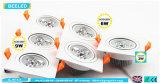 9W охлаждают наивысшую мощность Dimmable СИД Downlight белого квадрата алюминиевую