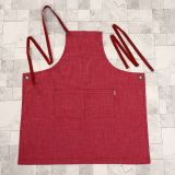 Red Washed Denim Fashion Ladies Workwear Full Bib Apron (RS-170301C)