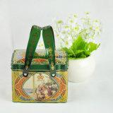 Rectangular regalo de encargo de embalaje caja de la lata con la manija