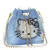 Hello Kitty 형식 모조 다이아몬드 Demin 청바지 디자이너 여자 숙녀 어깨에 매는 가방 술 핸드백