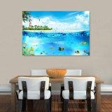 La peinture à l'huile estampée par jet d'encre bleu de mer pour la décoration à la maison