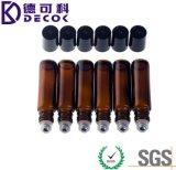 bouteilles en verre ambres de rouleau d'huile essentielle de 10ml Brown avec des boules de commande d'acier inoxydable pour des parfums et des baumes de languette, bouteilles en verre de rouleau