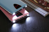 banco portátil Fram de alumínio LCD da potência do telefone da tampa do couro 10000mAh para o presente do Natal