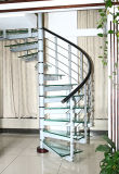 유리제 보행 (SJ-3072)를 가진 스테인리스 그리고 유리제 나선형 계단