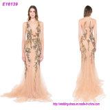 Formaler Frauen-Abend-Kleider des Abend-Kleid-überhaupt hübscher eleganter tiefer V-Stutzen mit Rüschen besetzte Fehlschlag-E18139 2017 Maxi