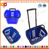 Cesta portátil plástica da roda da compra do rolamento do supermercado (Zhb81)