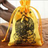 Bolso suave amarillo de la joyería del lazo del satén del oro con insignia de encargo
