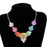 Collier acrylique en cristal d'alliage de fleur, bijou de mode