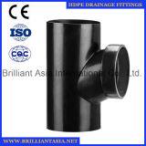 Instalaciones de tuberías del drenaje del sifón del HDPE guarnición del HDPE de 90 grados con controlar las guarniciones del drenaje del HDPE del orificio