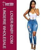 Pantaloni scarni dei pantaloni dei jeans del denim per la signora (L452)