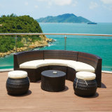 プールの側面のための藤の家具の日曜日の快適な屋外のLounger