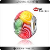 Grano de plata multicolor de Murano Lampwork de la base para las pulseras