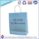 Bolsos de compras blancos impresos de las bolsas de papel de Kraft con la maneta