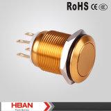 Interruptor de pulsador de aluminio coloreado 19m m impermeable momentáneo popular de la UL