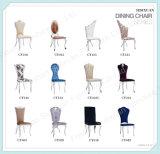 2016脚の現代ビロードの椅子はガラス6の人のダイニングテーブルを取り除く