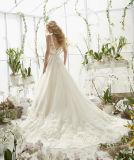 0065 uma linha vestidos de casamento Ivory do laço do trem da capela da parte traseira da garganta V de V