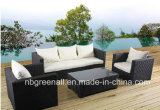 Le sofa en osier de rotin de meubles de bâti en aluminium a placé pour le jardin (9059)