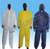 최신 판매 처분할 수 있는 비 길쌈된 폴리프로필렌 작업복, 백색 방어적인 작업복