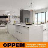 Moderner Großhandelslack-hölzerne weiße Küche-Schränke mit Insel (OP16-Villa01K)