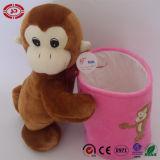 아이를 위한 Monky 브라운 장난감 포옹 분홍색 연필 콘테이너