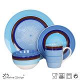 jeu de dîner 16PCS peint à la main avec le bleu et les cercles de Brown