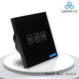 Un-voie Light Wall Switch de Sankou Electrical Touch Switches 220V50Hz Three Gang avec Black Glass Plate Window Wall Switch