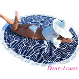 海軍幾何学的な円形の綿のビーチタオル