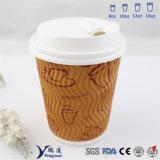 Copo de papel do café da parede da ondinha de Kraft da impressão de Flexo