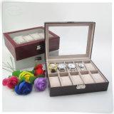 Caixa de relógio de couro de madeira BRITÂNICA do luxo Handmade de couro do plutônio