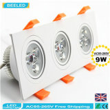 9W blanco natural cuadrado de aluminio de alta potencia Dimmable LED Downlights