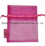 Poche personnalisée promotionnelle de cadeau de bijou d'organza de rose chaud de mode petite