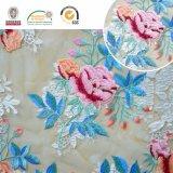 Tela colorida do laço da flor, teste padrão floral do bordado para o vestuário e casamento C10038