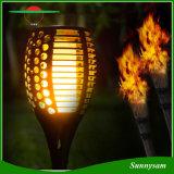 Flama solar da luz da tocha do diodo emissor de luz que ilumina a tocha de cintilação solar do diodo emissor de luz impermeável para luz decorativa de ligar/desligar da tocha do quintal do jardim a auto