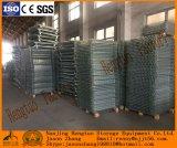 Casella resistente d'acciaio accatastabile e piegante della rete metallica per memoria del magazzino