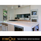水晶Benchtopおよび開架デザインTivo-0218hのKtichenの張り合わせられた黒い食料貯蔵室