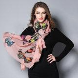 ピンクの蝶デジタル印刷のスカーフ