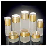 スキンケアの熱い押すことのガラスクリーム色の瓶のローションのびんの装飾的な曇らされたガラスビン