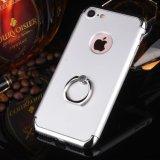 Caso duro cristalino de electrochapado del soporte del anillo de la caja del teléfono celular para el iPhone 7 6 4.7 más