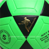 Bille de football en gros en cuir brillante de vente chaude du football d'unité centrale de vessie butylique