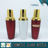 rote weiße farbige kosmetische Glasflasche der pumpen-100ml