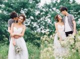 Вскользь двойные планки спагеттиа a - линия напольное платье венчания полнометражное