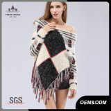 Ladies Knitted Fringed the Shoulder Argyle Poncho Sweater