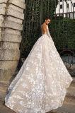 Robe de mariage nuptiale de pleines chemises de Champagne avec la décoration de fleurs (W725)