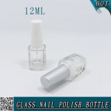bouteille en verre carrée intéressante de vernis à ongles 12ml avec le chapeau et le balai en plastique