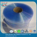 Gordijn van de Strook van de Deur van Industril van de koude Zaal het Dubbele Geribbelde Lichtblauwe Flexibele Plastic