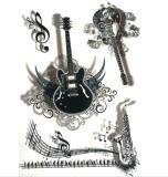 etiqueta engomada temporal del tatuaje del arte de las etiquetas engomadas del tatuaje de la guitarra de la música de la manera 3D